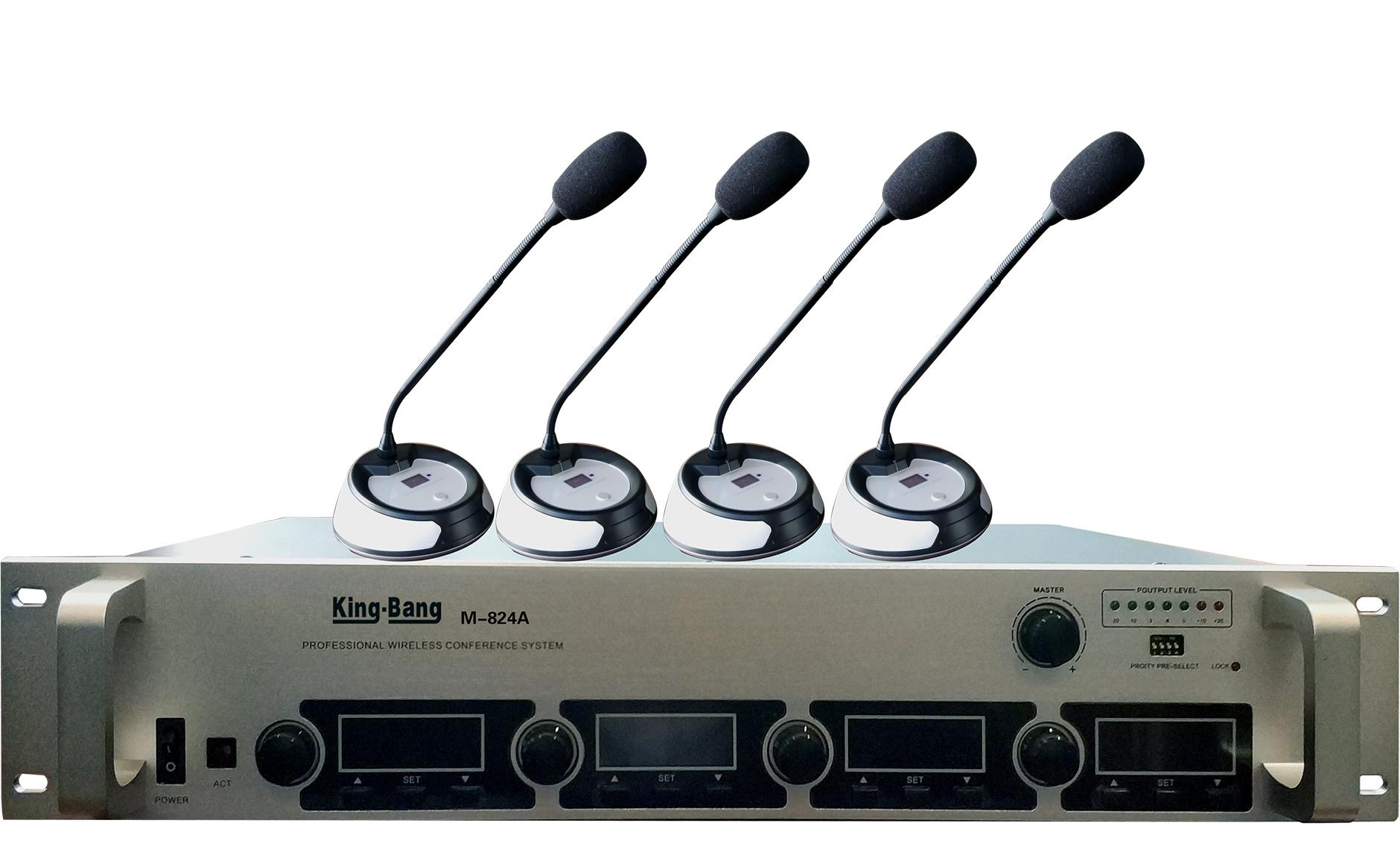 带混音一拖四(红外对频)无线麦克风M-824A