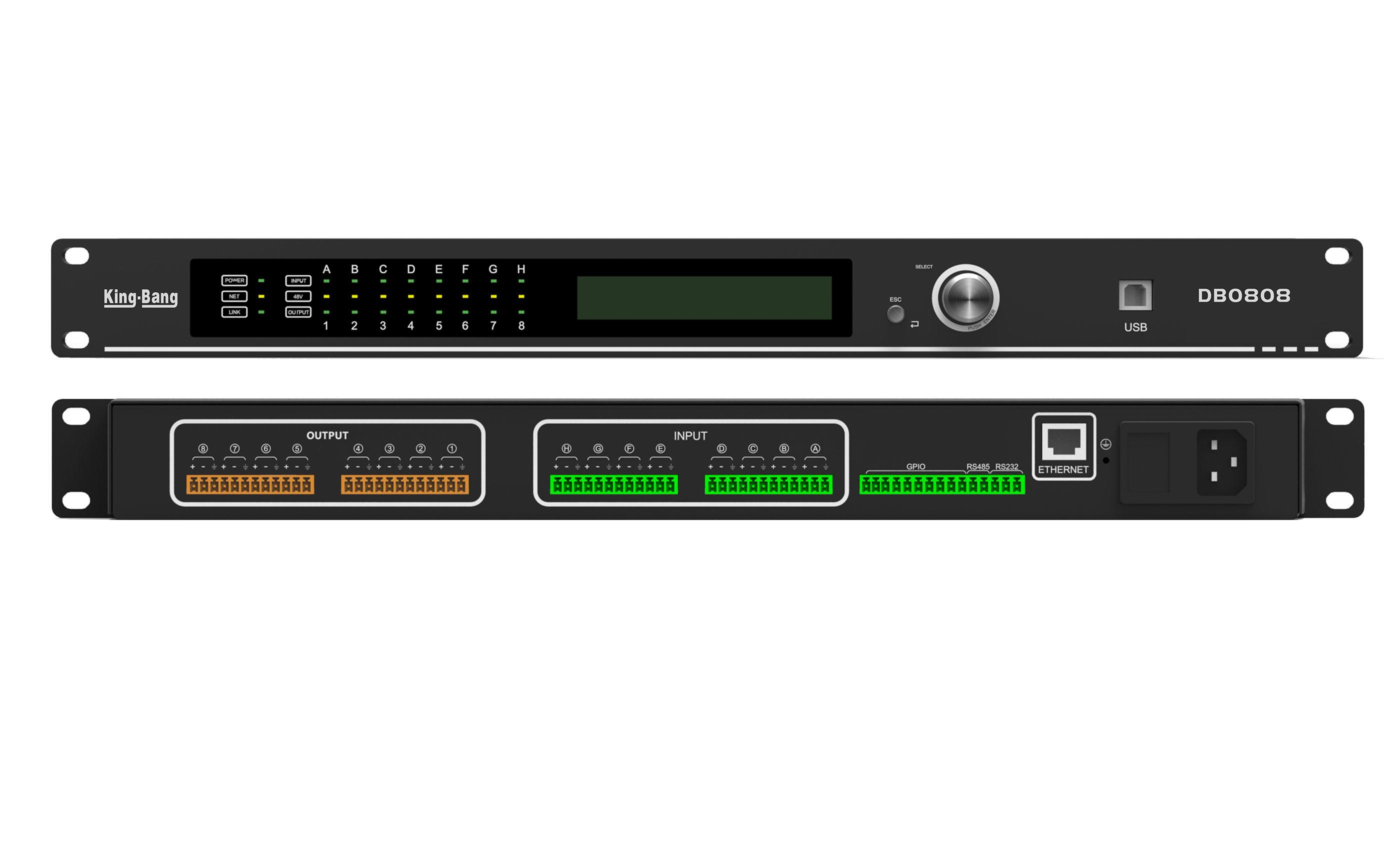 8路自动混音媒体矩阵DB0808